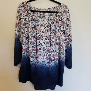 Avenue 3/4 Sleeve Peasant Blouse Size 18/20